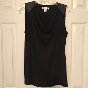 Motherhood Maternity Cowl-neck Leather Detail Top